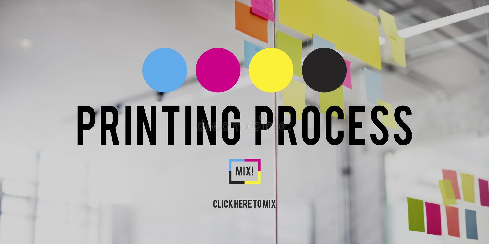Printing Process CMYK Cyan Magenta Yellow Key Concept royalty free stock images