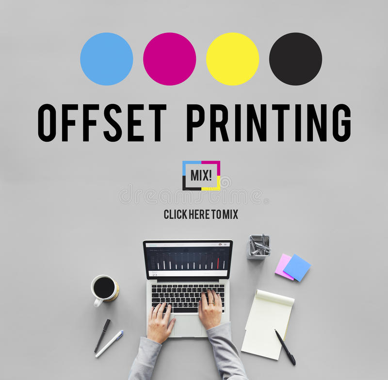 Printing Process Offset Ink Color Industry Media Concept stock photo