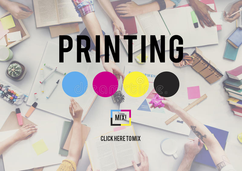 Printing Process Offset Ink Colour Industry Media Concept royalty free stock image