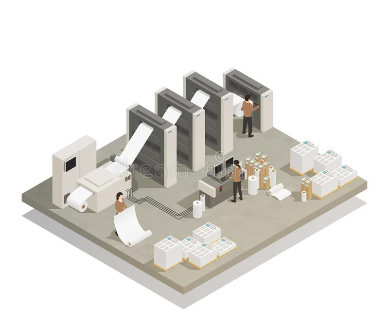 Printing Production Process Isometric Composition stock illustration