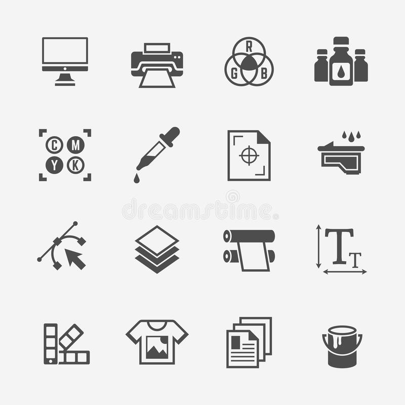 Printing service isolated vector black icons vector illustration