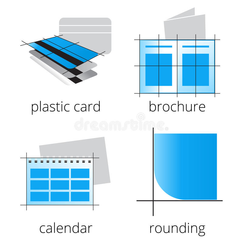 Printing shoppar den blåa symbolsuppsättningen för service Del 3 stock illustrationer