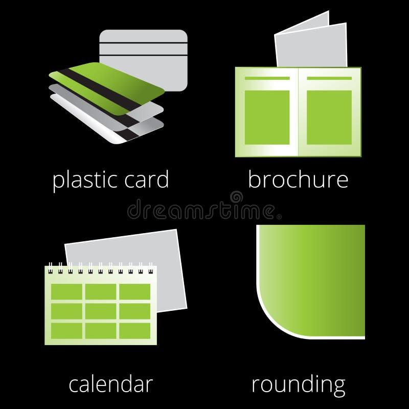 Printing shoppar den gröna symbolsuppsättningen för service Del 3 vektor illustrationer