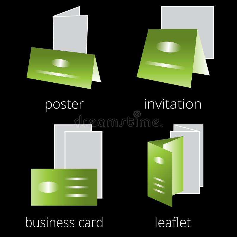 Printing shoppar den gröna symbolsuppsättningen för service Del 2 royaltyfri illustrationer