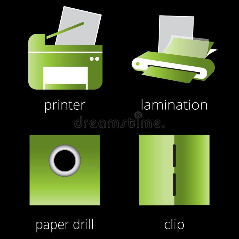 Printing shoppar den gröna symbolsuppsättningen för service Del 6 vektor illustrationer