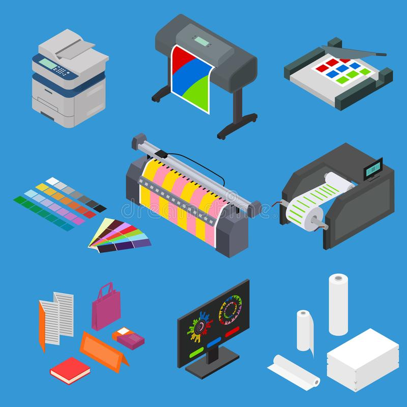 Printing Signs 3d Icons Set Isometric View. Vector royalty free illustration