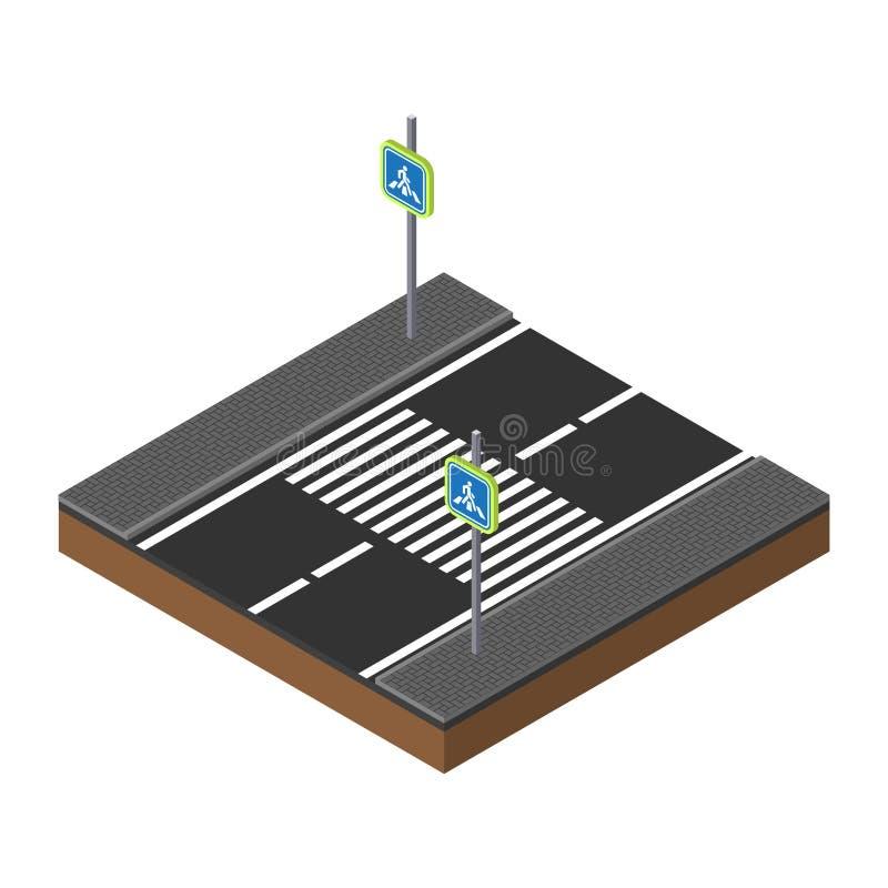 PrintIsometric trafikljus på tvärgataillustration Modig mall övergångsställeväg för säkerhet 3d idérik affär royaltyfri illustrationer