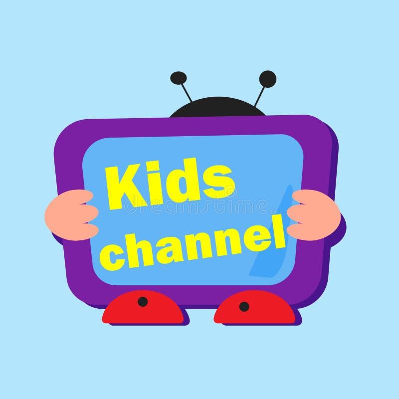 PrintLogo para a televisão das crianças Vetor Logotipo brilhante com letras e uma tevê ilustração do vetor