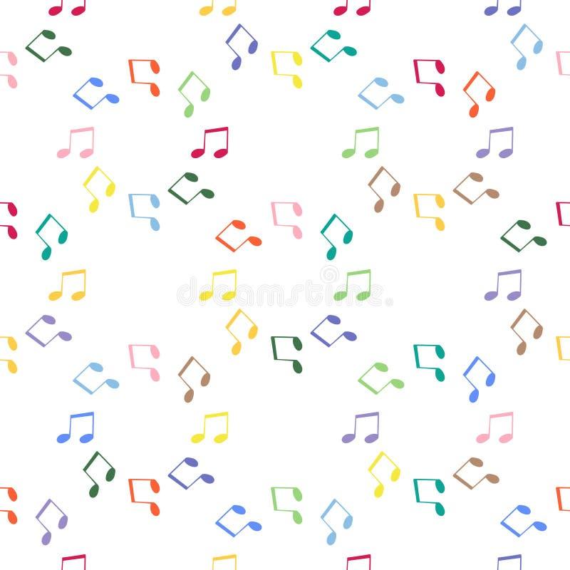 PrintNotes Notas de fundo sem emenda do teste padrão Notas da música, vetor da clave de sol ilustração royalty free