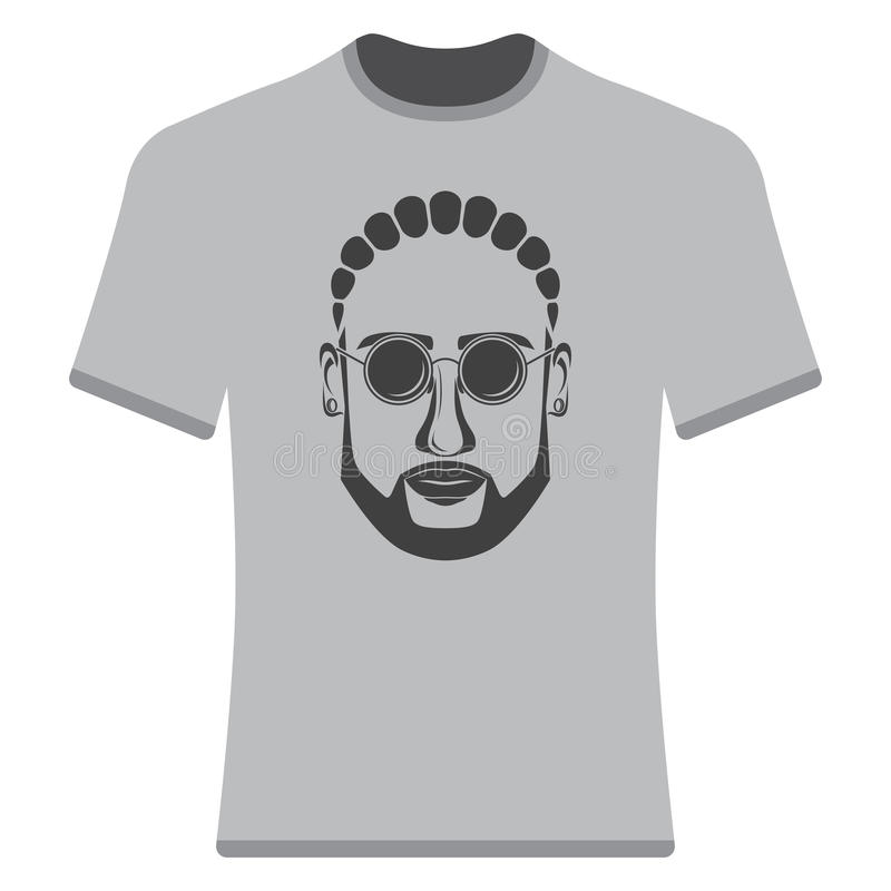 Prints T-shirts with the image of hipsters. Afro-hipsters and bearded royalty free illustration