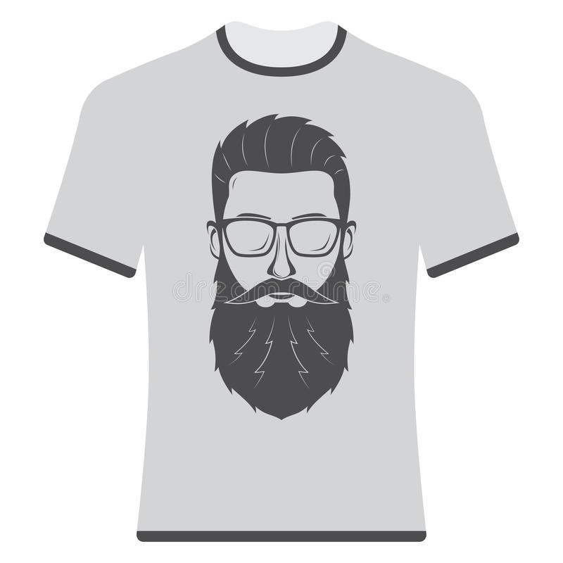 Prints T-shirts with the image of hipsters. Prints T-shirts with the image of hipsters and bearded royalty free illustration