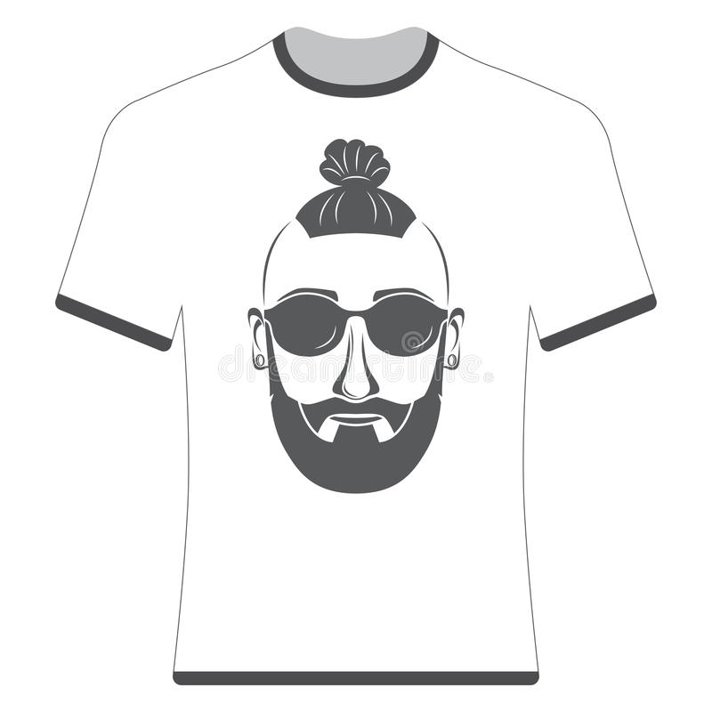 Prints T-shirts with the image of hipsters. And bearded royalty free illustration