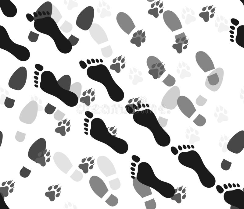 Prints of traces of bare feet of the person, footwear and traces of animals dog. Seamless pattern. Vector illustration vector illustration
