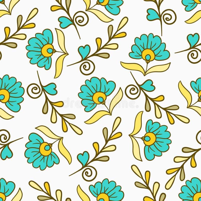 PrintSeamless样式与黄色和蓝色现代夏天开花 传染媒介不尽的花卉纹理 无缝的模板可以使用为 向量例证