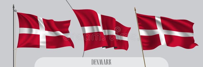 PrintSet Dani falowania flaga na odosobnionej tło wektoru ilustracji ilustracja wektor