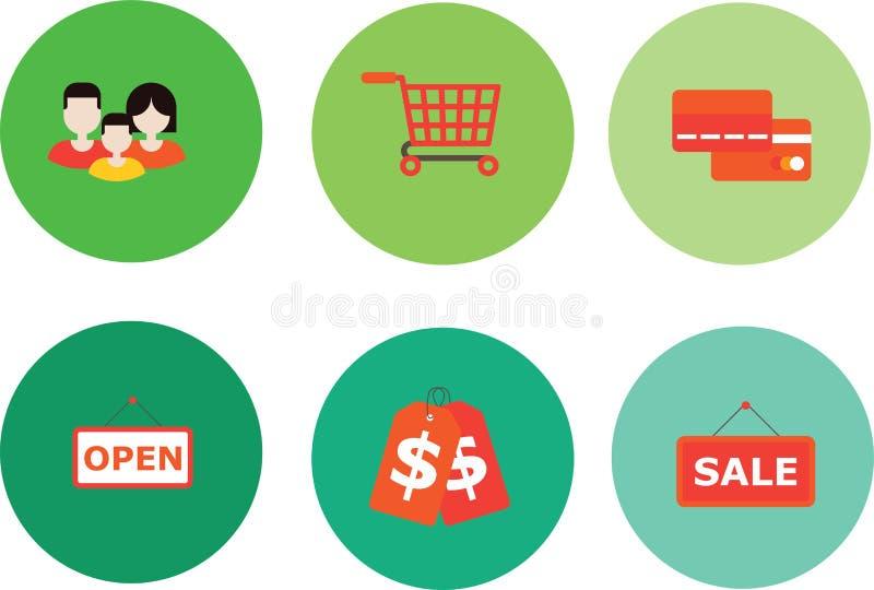 PrintSet of Universal Standard Shopping Icons on Elegant Modern 皇族释放例证
