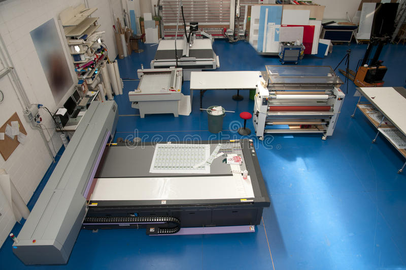 Printshop com plotador da estaca fotografia de stock