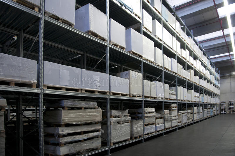 Printshop: paper warehouse royalty free stock photos