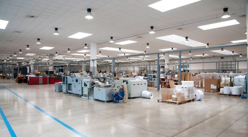 Printshop (printing plant) - Finishing line stock photography