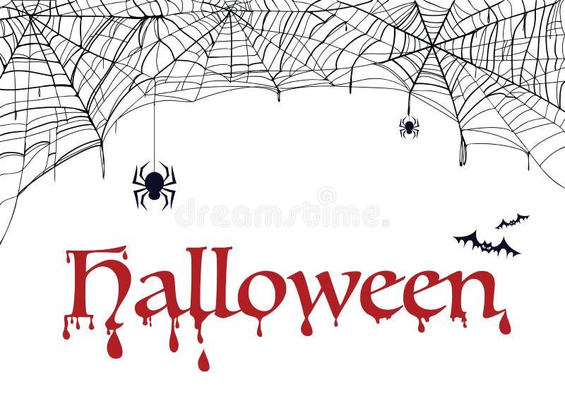 PrintSpiderweb, ρόπαλο και αράχνη με τη λέξη αποκριές Διακόσμηση για το κόμμα διανυσματική απεικόνιση