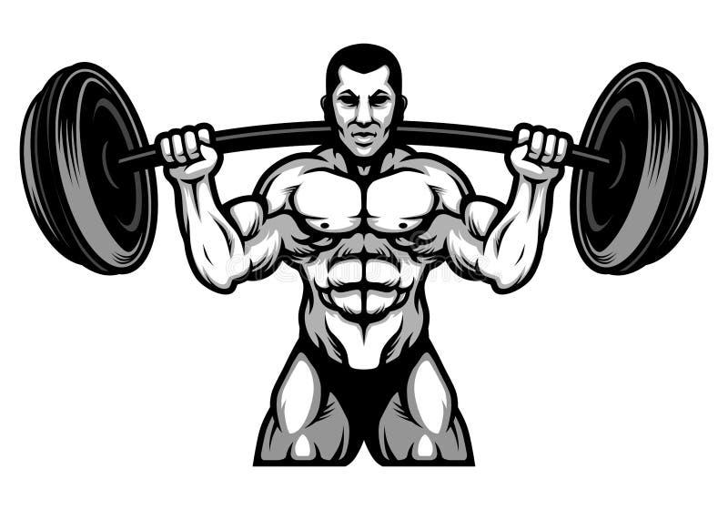 PrintStrong Powerlifting en Bodybuilding-Atleet met Grote Barbeel Zwart-witte Illustratie royalty-vrije illustratie
