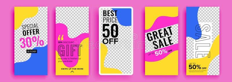 PrintTrendy redigerbar mall för sociala nätverksberättelser, vektorillustration Designbakgrunder f?r socialt massmedia vektor illustrationer