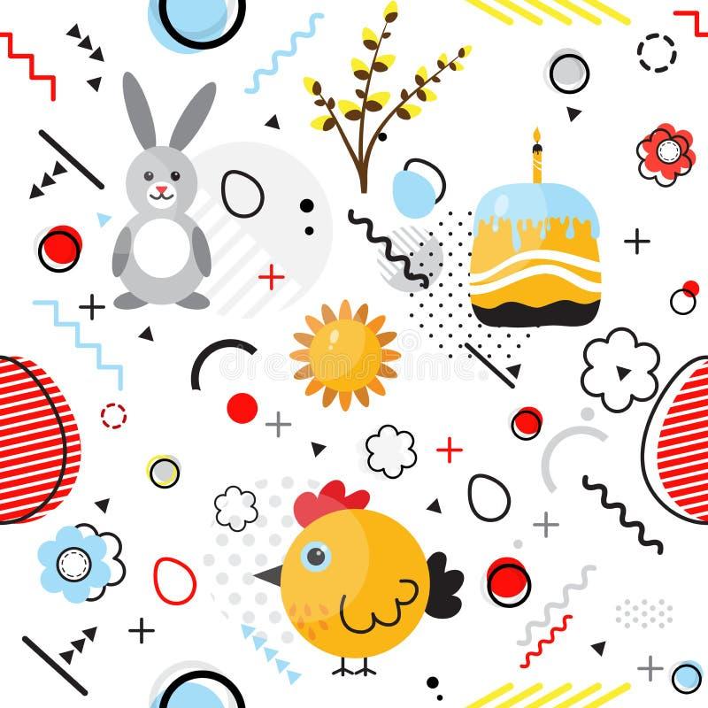 PrintTrendy senza cuciture, modello geometrico di Pasqua di stile di Memphis, illustrazione di vettore illustrazione vettoriale
