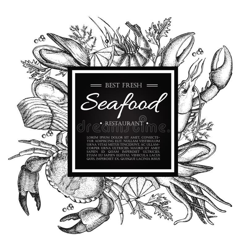 PrintVector rocznika owoce morza restauraci ilustracja Ręka rysujący sztandar ilustracja wektor