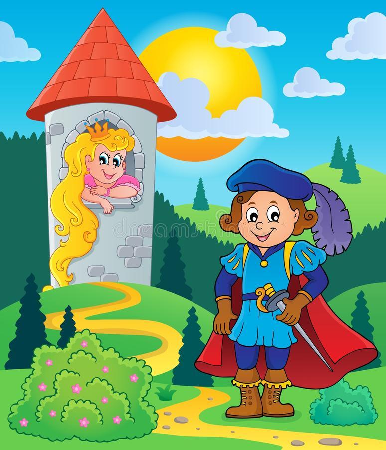 Prinz nahe Turm mit Prinzessin stock abbildung