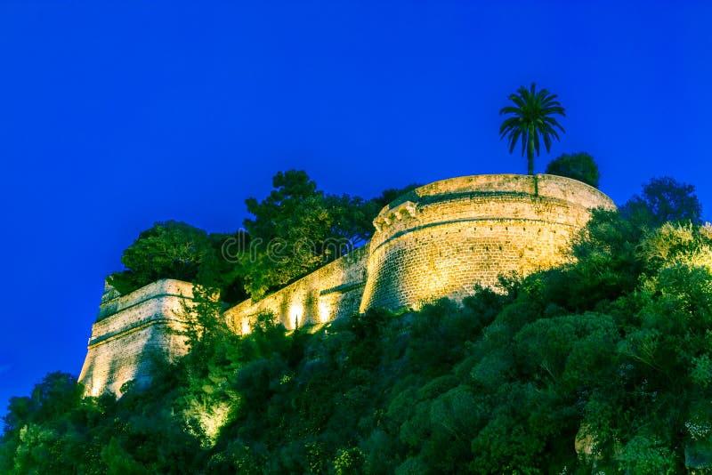 Prinz ` s Palast von Monaco nacht lizenzfreies stockfoto