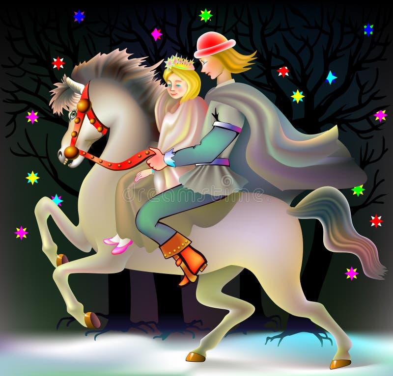 prinz der ein pferd zur prinzessin reitet vektor