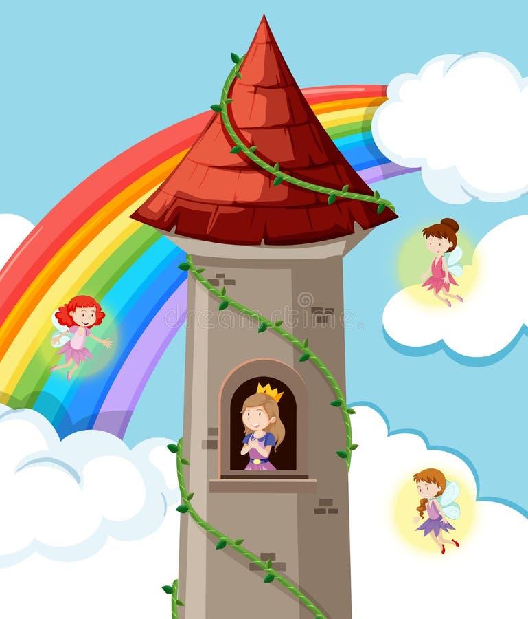 Prinzessin auf dem Schloss vektor abbildung