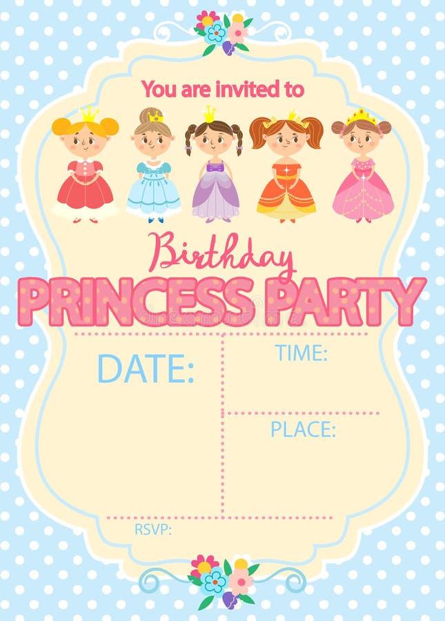 Prinzessin Birthday Party vektor abbildung
