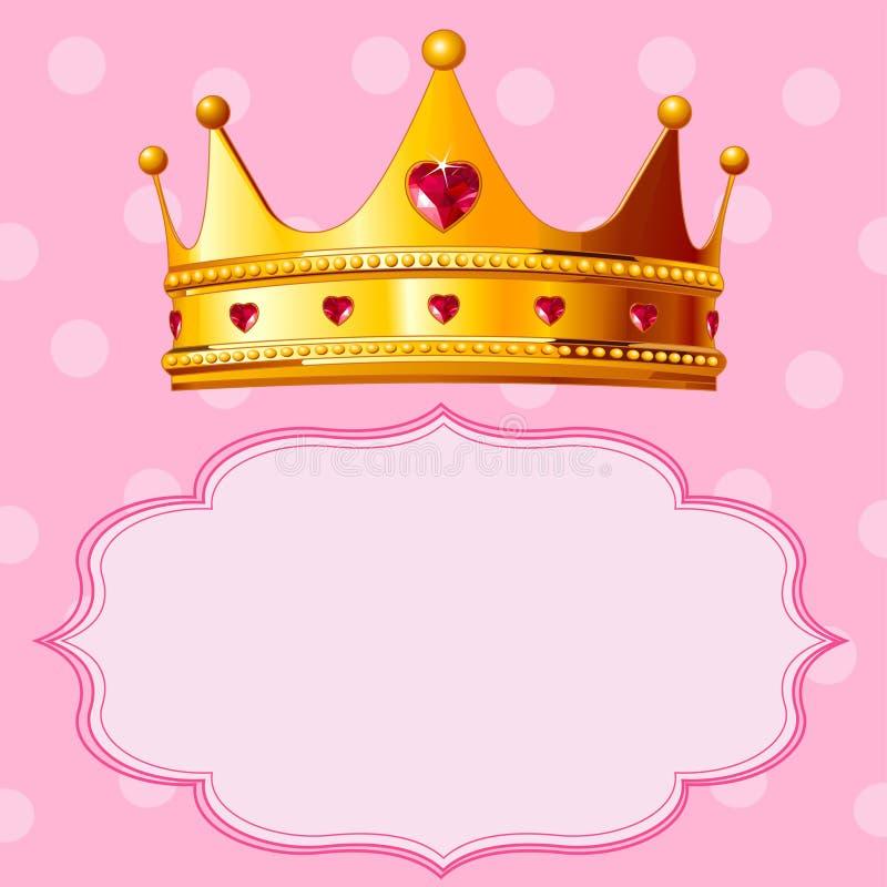 Prinzessin Crown auf rosafarbenem Hintergrund lizenzfreie abbildung