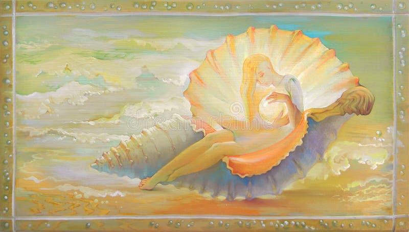 Prinzessin der Muschel Porträt des schönen Mädchens Fantasieumwelt träumend ?lgem?lde auf Holz stock abbildung