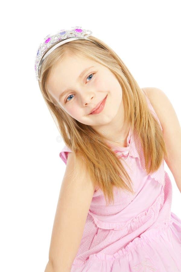 Prinzessin des kleinen Mädchens über Weiß stockfotos