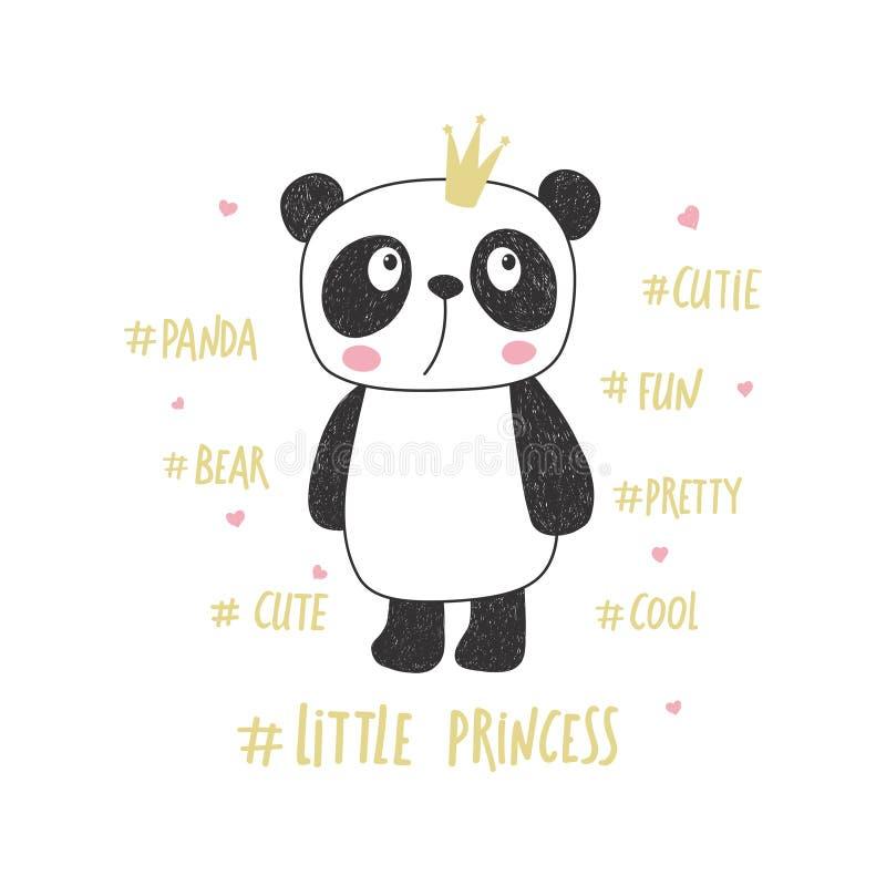 Prinzessin des kleinen Pandas Kindertagesstättenvektorillustration vektor abbildung