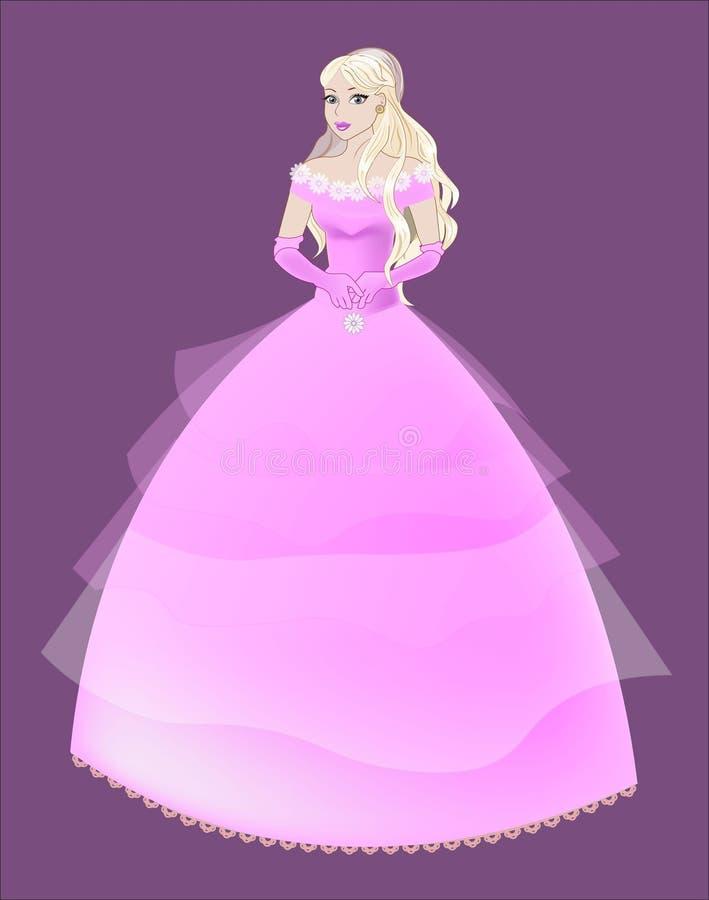 Prinzessin die Blondine in einem rosa Kleid stock abbildung