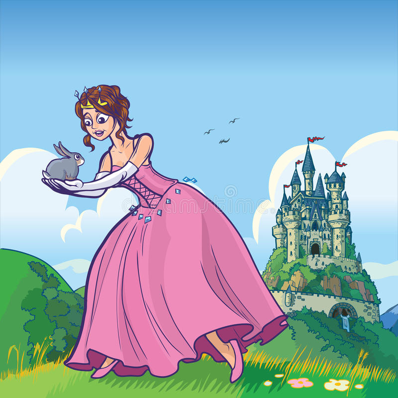 Prinzessin, die Kaninchen mit Schlossvektorkarikatur hält stock abbildung