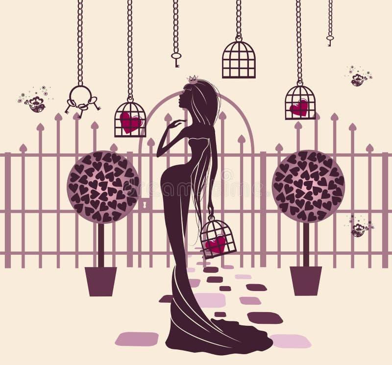 Prinzessin in einem magischen Garten lizenzfreie abbildung