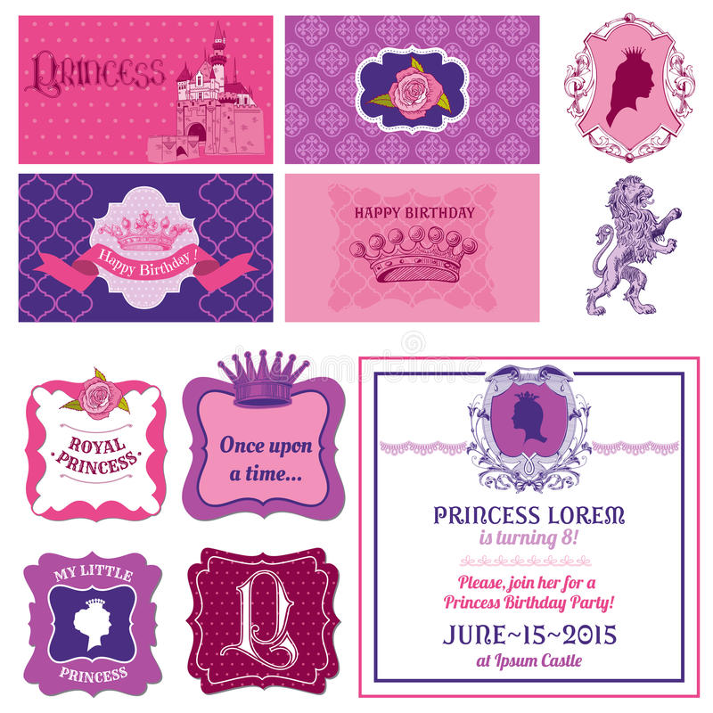 Prinzessin Girl Birthday Set stock abbildung