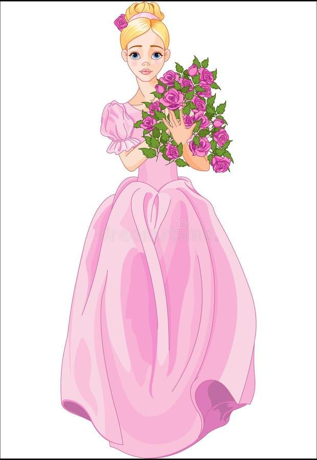 Prinzessin hält Blumenstrauß stock abbildung