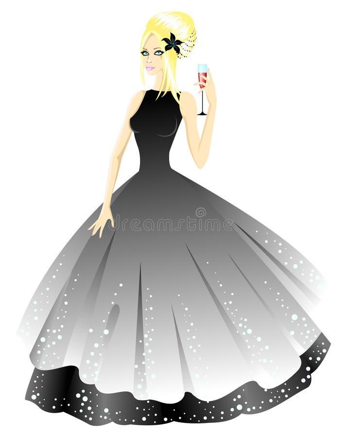 Prinzessin im grauen Kleid mit Glas vektor abbildung