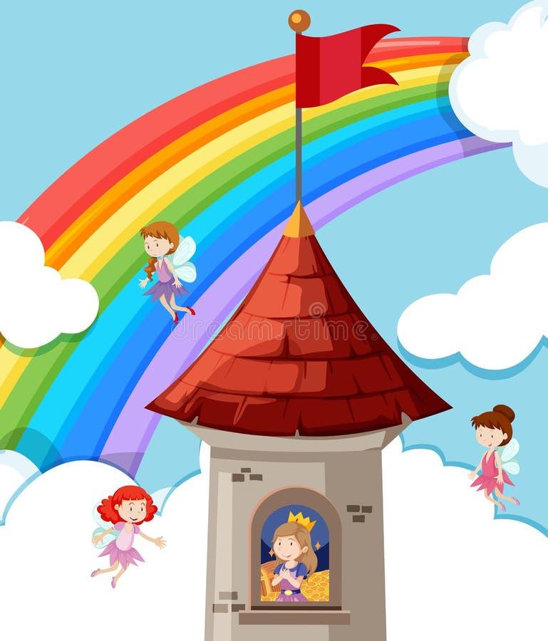 Prinzessin im Schloss stock abbildung