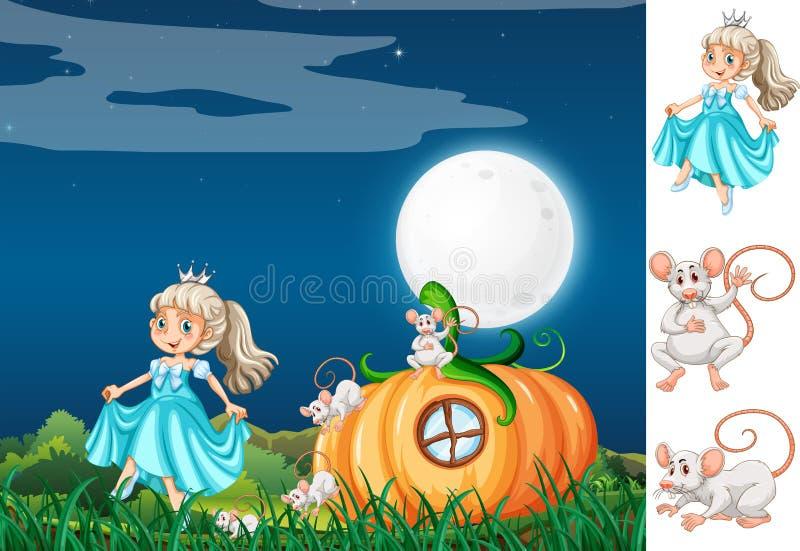 Prinzessin mit Maus nachts stock abbildung