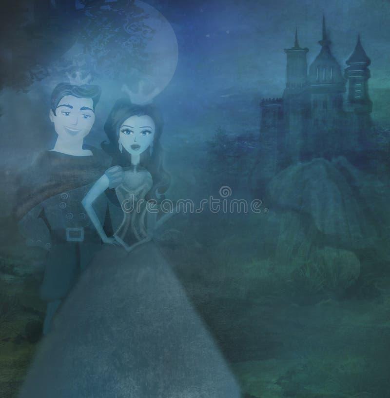 Prinzessin mit Prinzen nahe dem Schloss stock abbildung