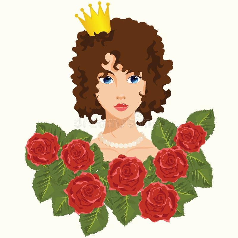 Prinzessin mit roten Rosen lizenzfreie abbildung
