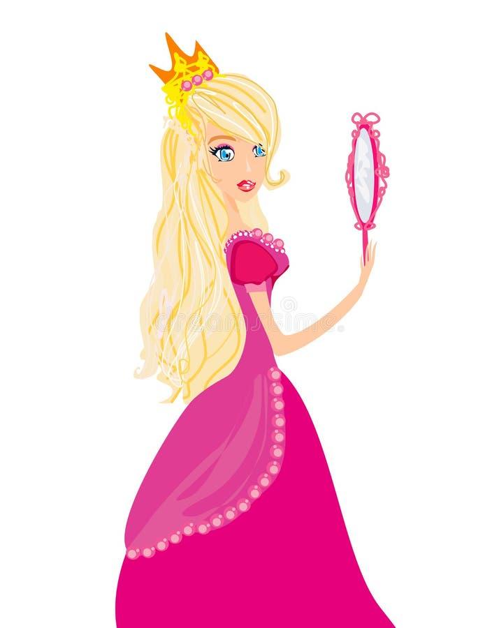 Prinzessin mit Spiegel in ihren Händen stock abbildung