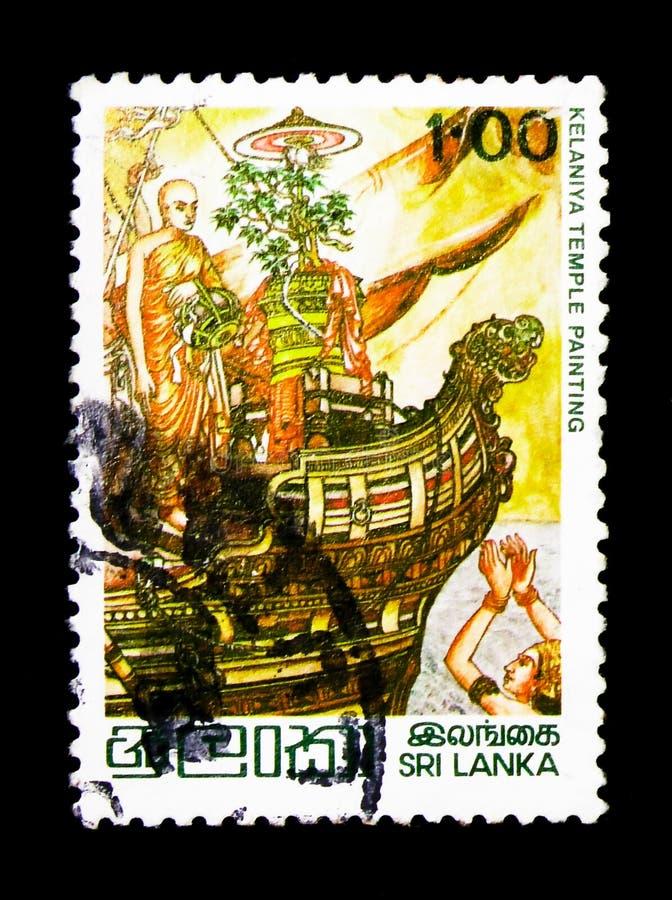 Prinzessin Theri Sanghamitta, das mit dem Schiff, der bodhi Baum, Vesak-Festival serie, circa 1979 holt stockfoto