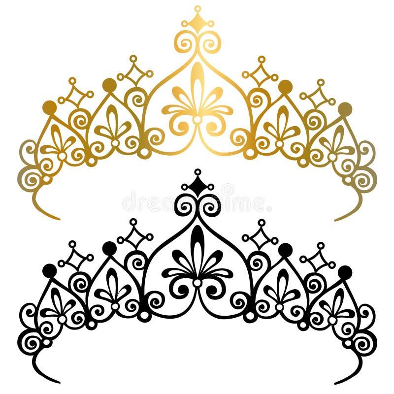Prinzessin Tiara Crowns Vector Illustration stock abbildung